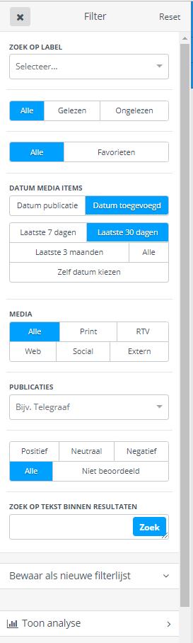 Mediaweb FIlter instellen